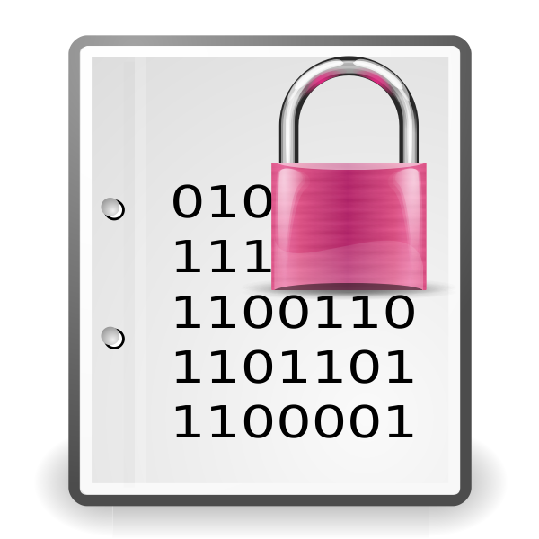 Encrypted document pink icon vector clip art