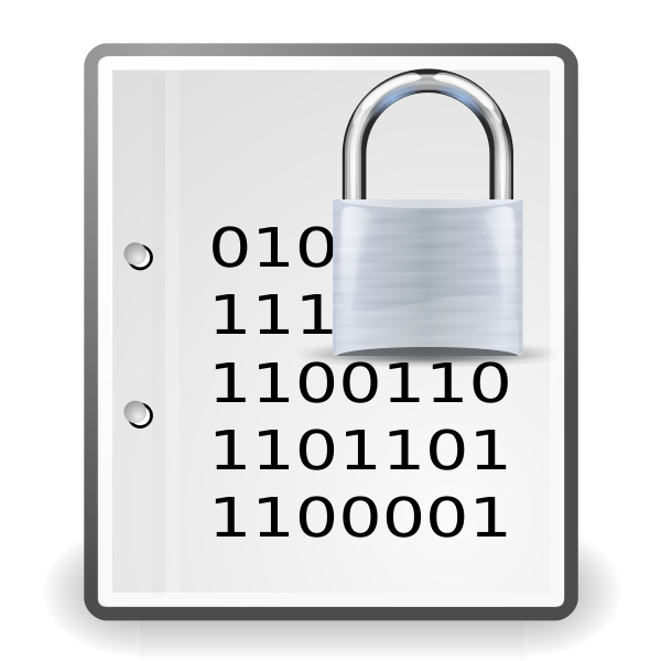 Vector image of encrypted document silver icon