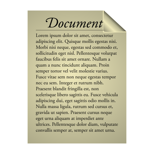 Vector clip art of textual document sign