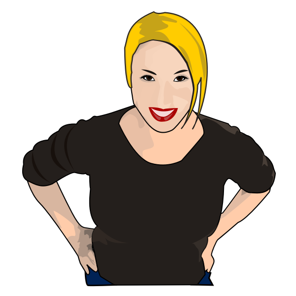 Vector graphics of blonde housewife