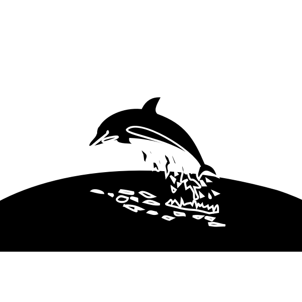 Vector drawing of diving dolphin