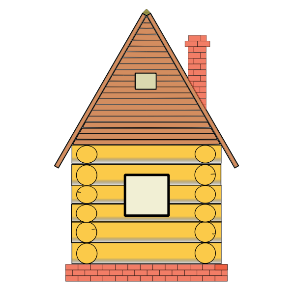 Russian small house vector drawing