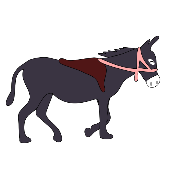 Vector clip art of purple donkey