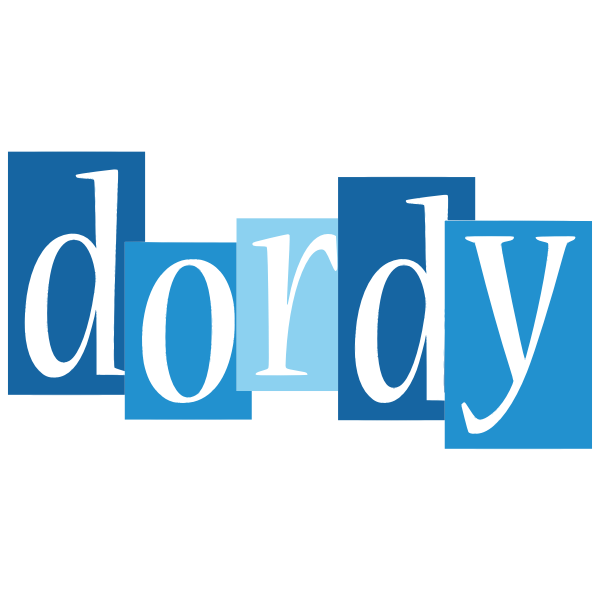 Dordy text on blue background
