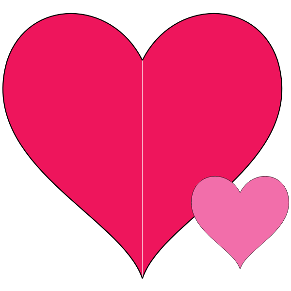Double hearts vector illustration