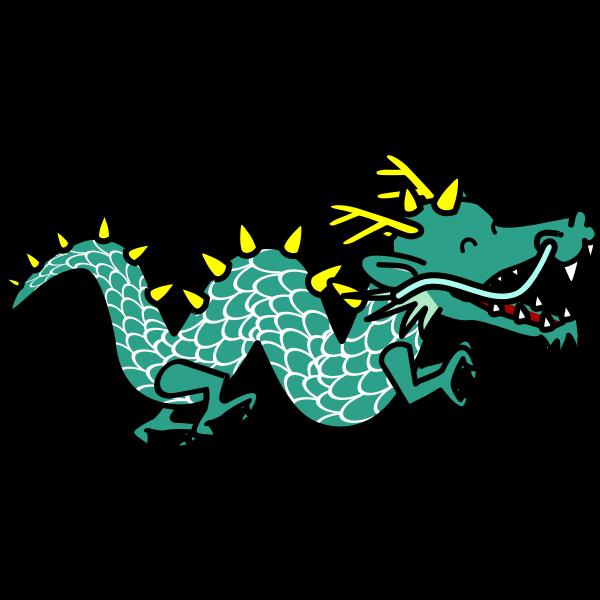 Green dragon cartoon style
