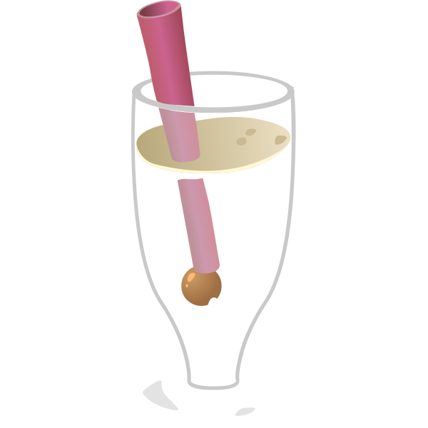 Bubbly drink with straw in glass vector image