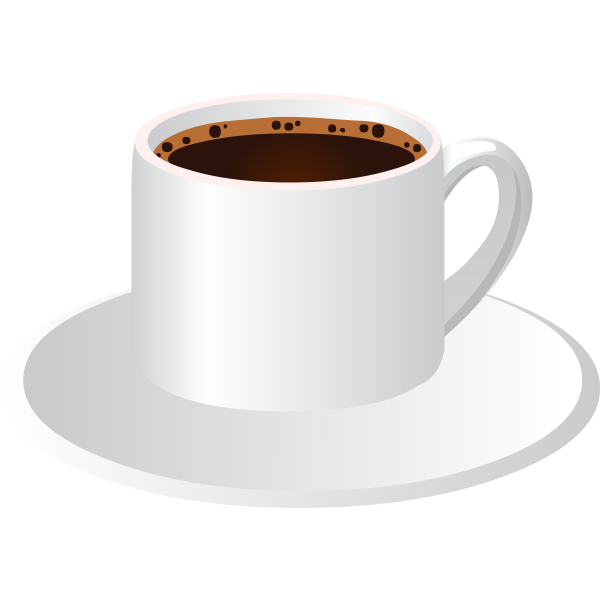 Vector clip art of coffee cup with a saucer