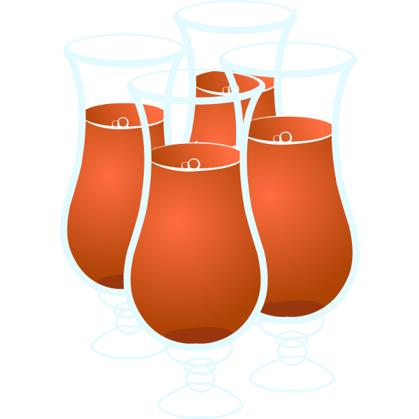 Vector drawing of four glass of juice