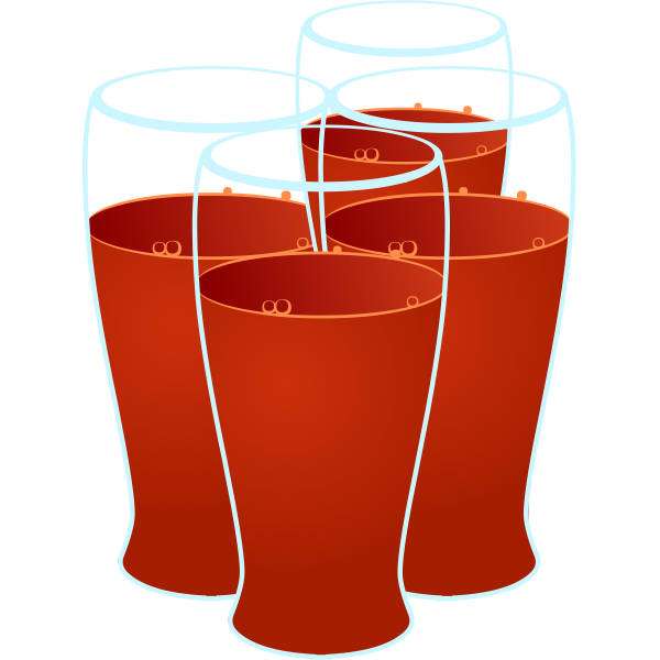Color image of four glasses of healthy juice