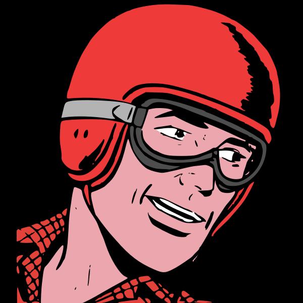 Driver in helmet