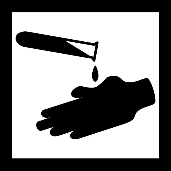 Vector clip art of square acid burns warning sign