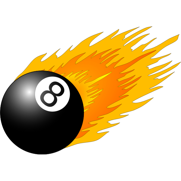 Billiard ball with flames vector