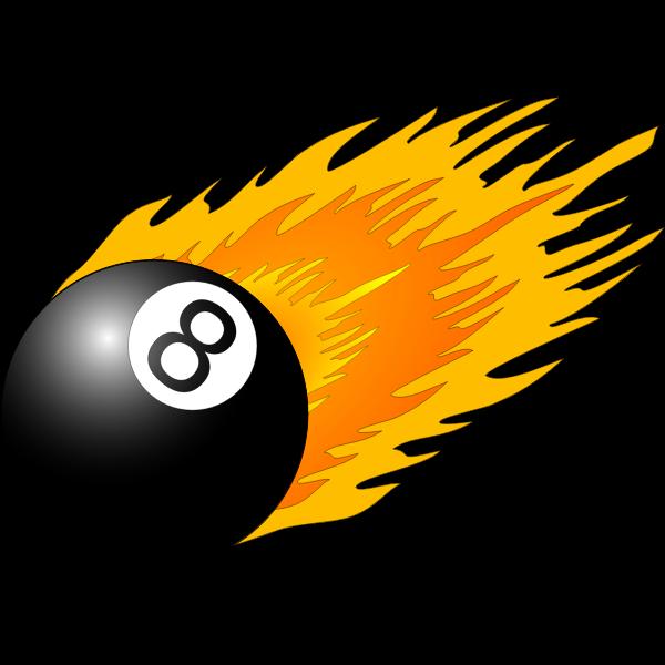 Billiard ball with flames vector
