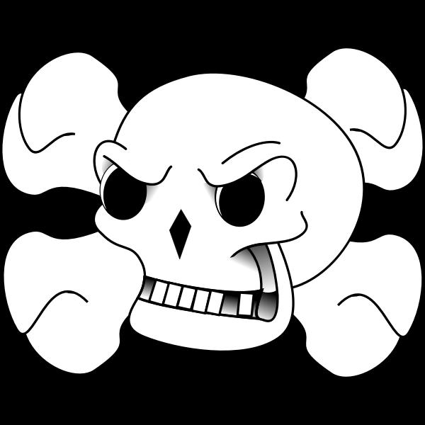 Bones behind skull vector illustration