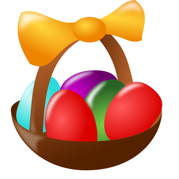 Oval Easter basket vector drawing