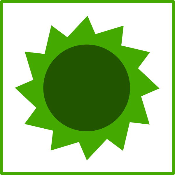 Vector illustration of eco green sun icon with thin border