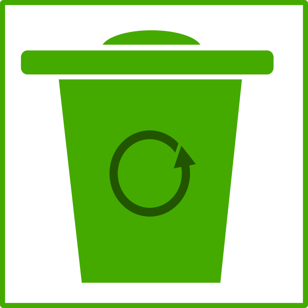 Vector image of eco green recycle bin icon with thin border