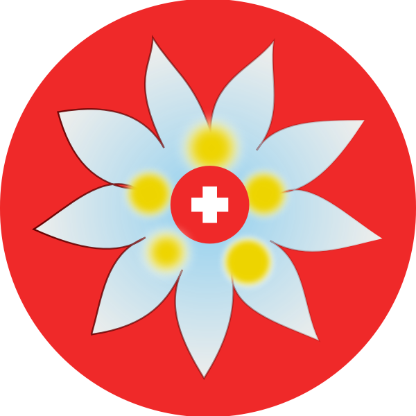 Swiss cross and flower