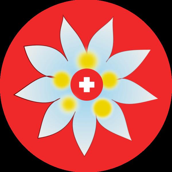 Swiss cross and flower