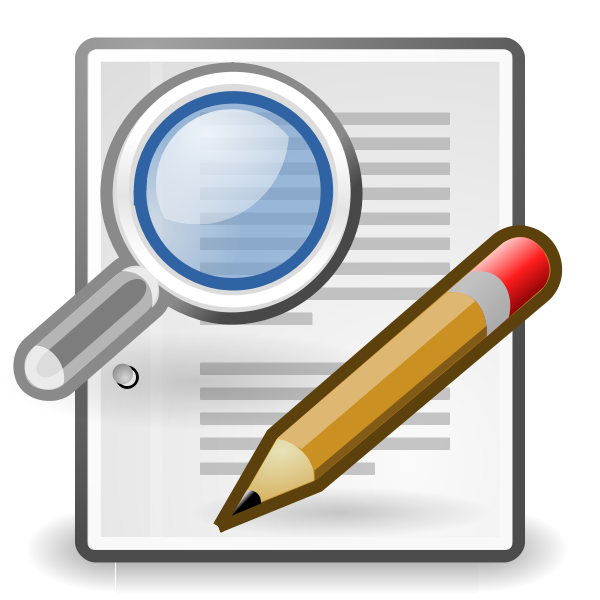 Vector clip art of search and write icon