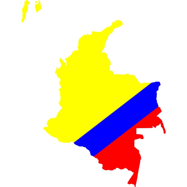 Colombian map in national flag colors
