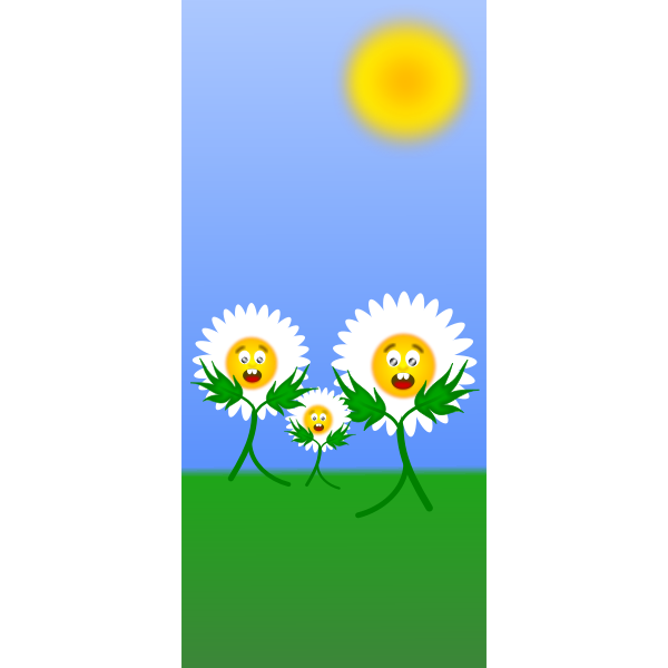 Dancing daisies vector illustration