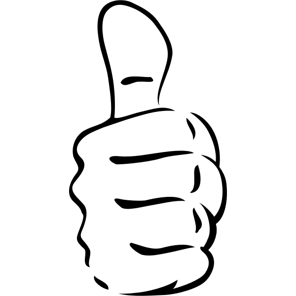 Vector clip art of worker man's thumbs-up
