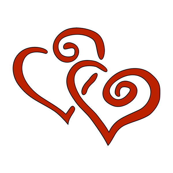 Two hearts vector graphics