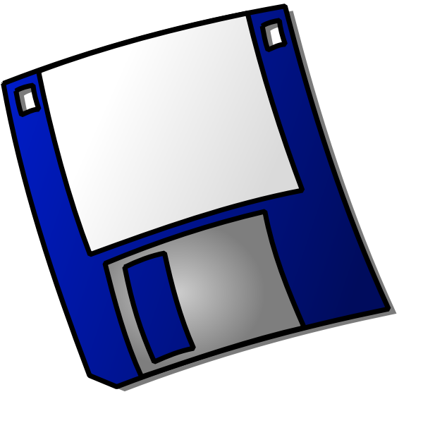 Vector image of a dark blue labelled floppy disk icon