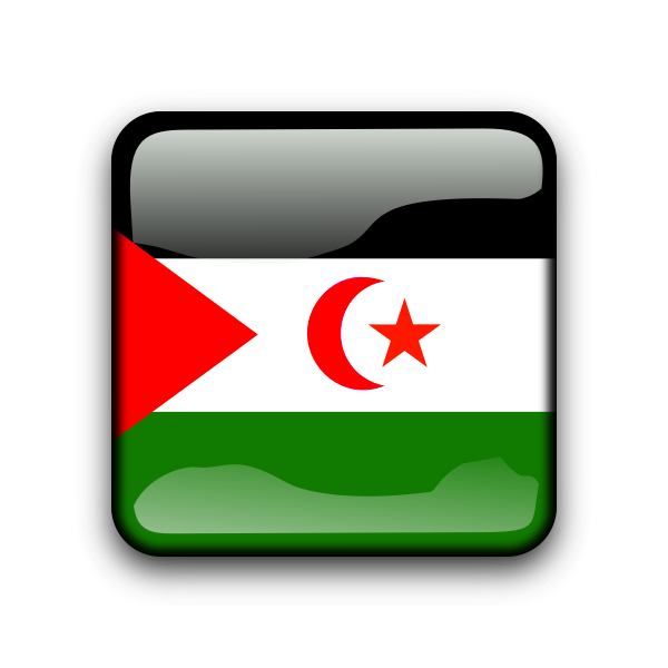 Glossy button with flag of Western Sahara