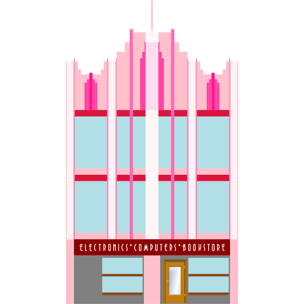 Vector image of three-storey building