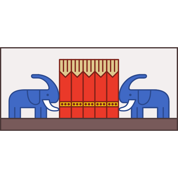 Two elephants in front of circus tent image