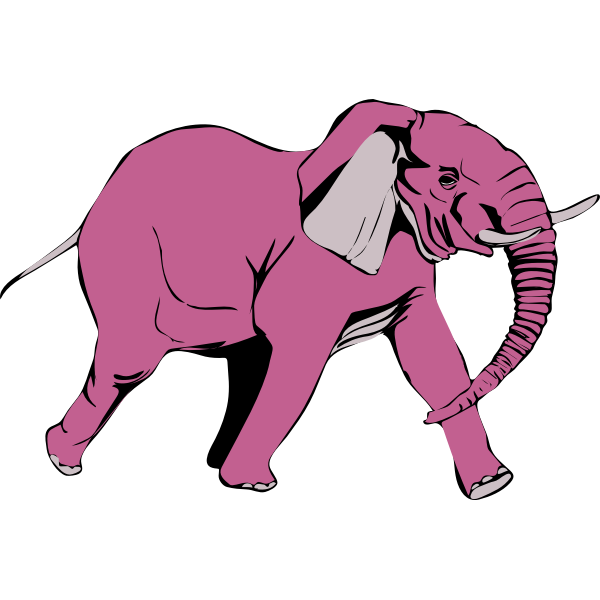 Pink elephant walking vector illustration