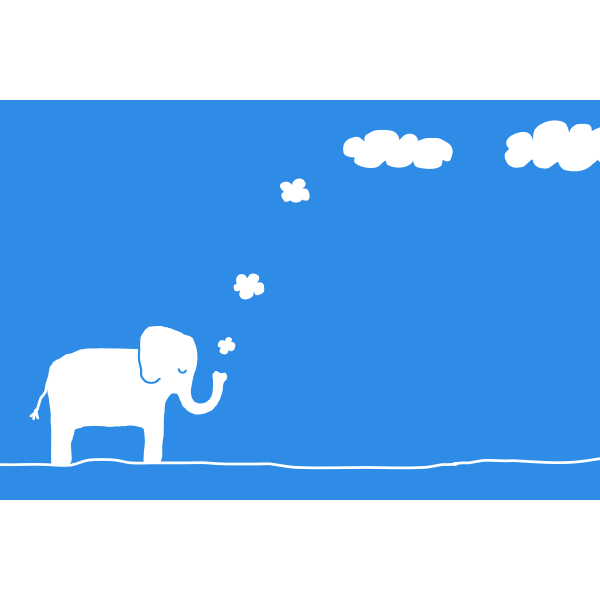 Vector clip art of elephant blowing clouds