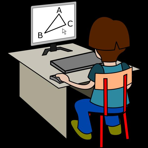 Boy using computer vector drawing