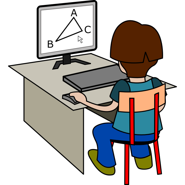 Boy using computer vector drawing