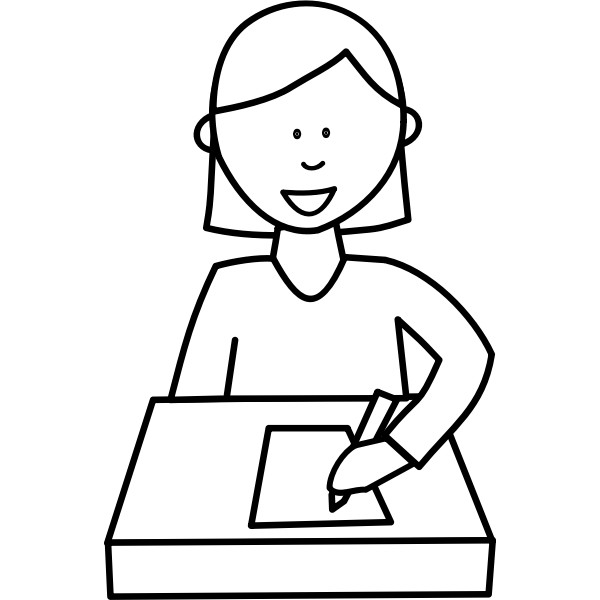 Student writing  at desk vector image