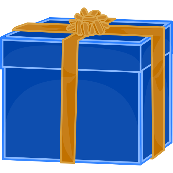Vector image of blue gift box with gold ribbon