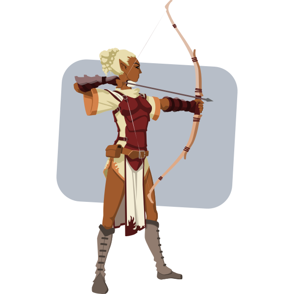 Elven archer vector illustration