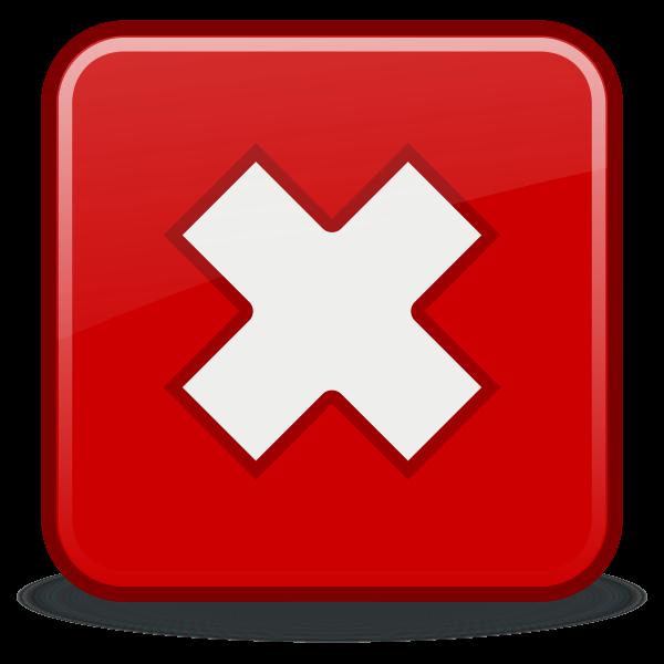 Red cross no OK vector icon
