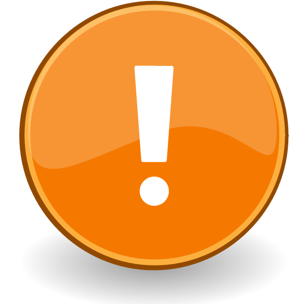 Vector drawing of exclamation mark in orange circle
