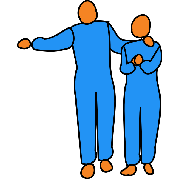 Vector drawing of interlinked man and woman