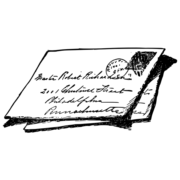 Vector graphics of handwritten envelope with stamp