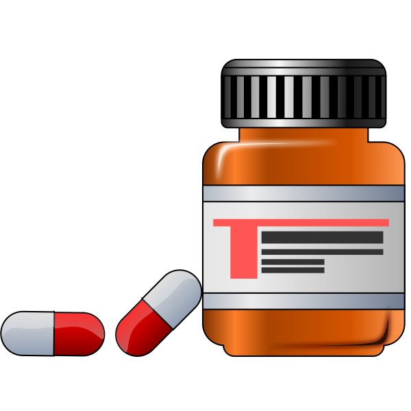 Medicine in glass container vector graphics