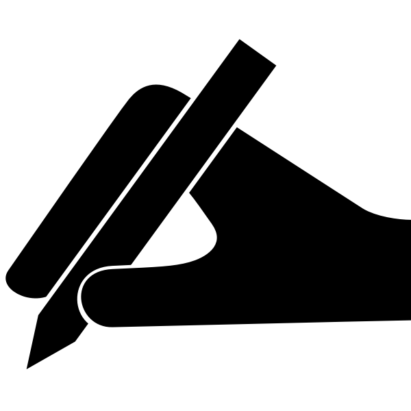 Hand and pen vector silhouette