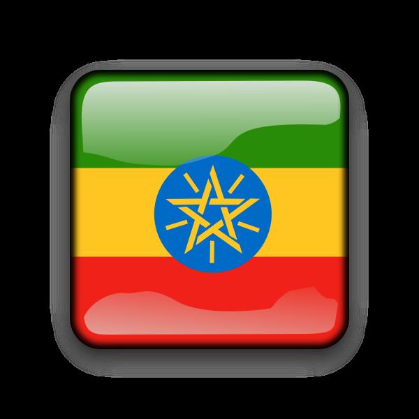Ethiopian vector flag button