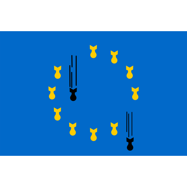 Vector image of EU flag with bombs in place of strars