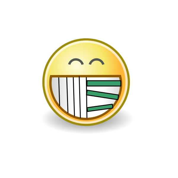 Evil smiley with piano teeth vector drawing