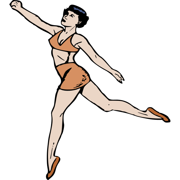 Lady in retro clothes doing exercises
